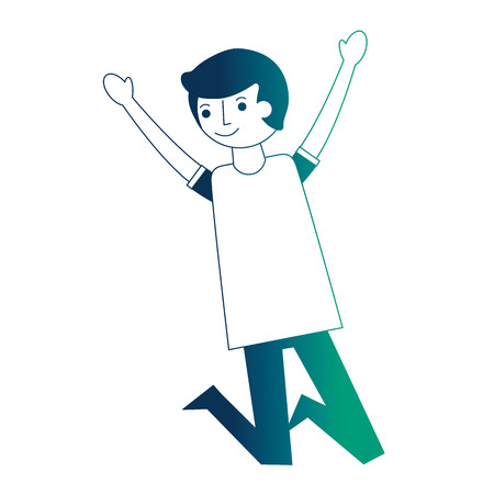 man character raised arms celebrating vector illustration neon design Archivio Fotografico - 104545134