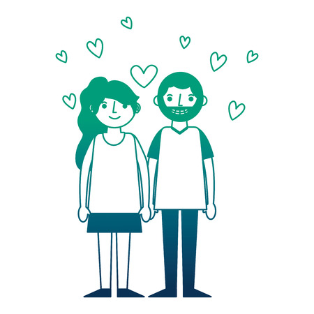 couple romantic holding hands and hearts love vector illustration neon design