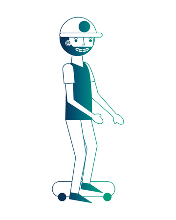 beard man practicing skateboarding sport vector illustration neon design Ilustração