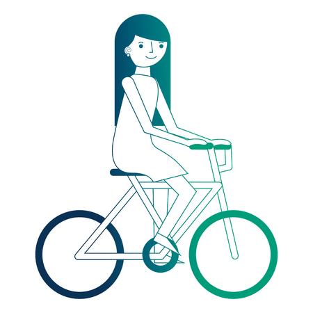 young woman riding bike recreation vector illustration neon design Illustration