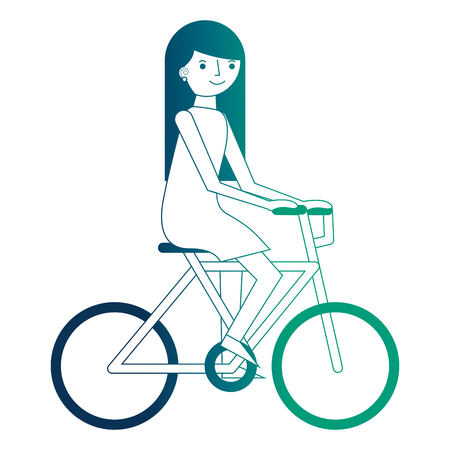 young woman riding bike recreation vector illustration neon design Ilustrace