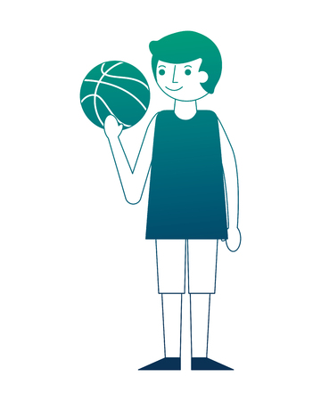 young man holding basketball ball vector illustration neon design