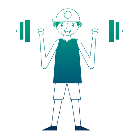young man lifting barbell training sport vector illustration neon design Ilustrace