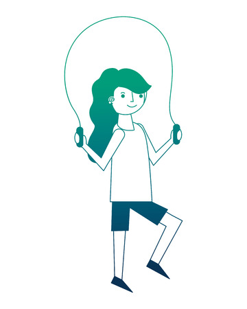 young woman jump rope activity vector illustration neon design