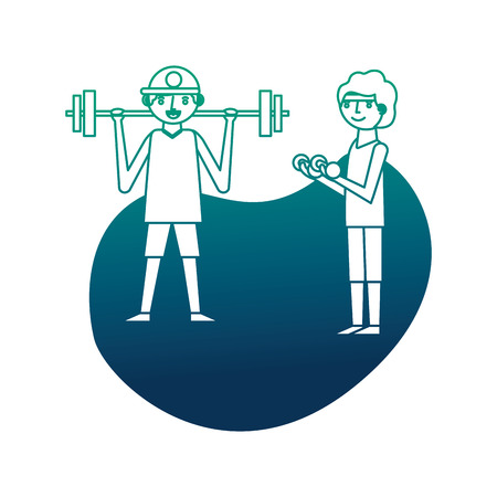 two man cartoon exercise with dumbbell and barbell vector illustration neon design Ilustração