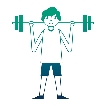 young man fitness activity lifting barbell vector illustration neon design