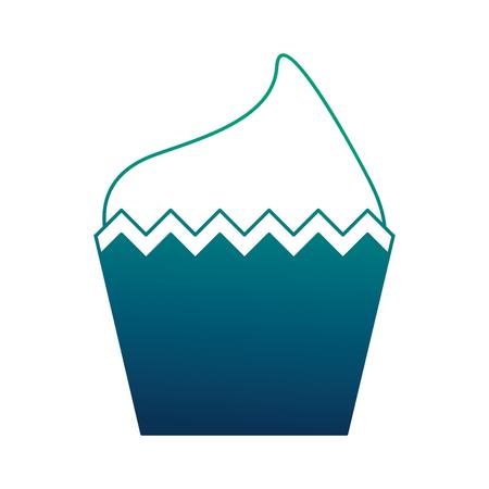 decorative birthday cupcake sweet food vector illustration neon design
