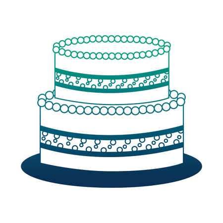 sweet birthday cake snack celebration vector illustration neon design Illustration