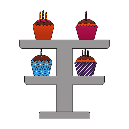 set sweet cupcakes with candles isolated icon vector illustration design Ilustração