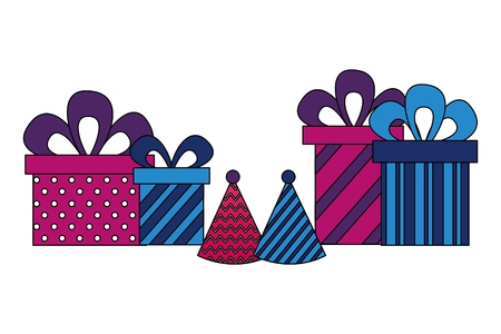 gifts boxes present with hat party icon vector illustration design  イラスト・ベクター素材