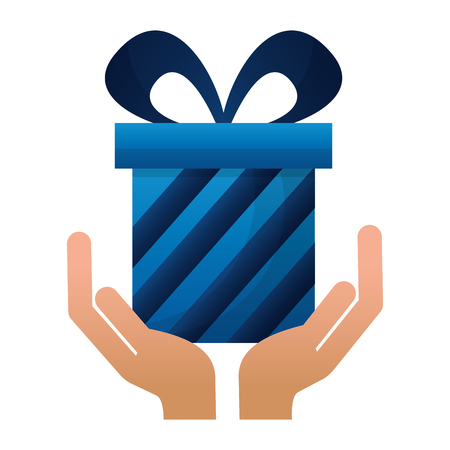 hands with gift box present icon vector illustration design