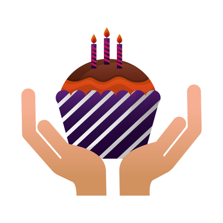 hands with sweet cupcake and candles isolated icon vector illustration design