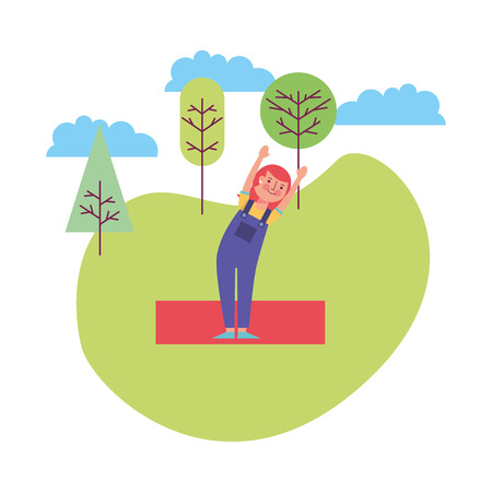 woman athlete working out in the landscape vector illustration design
