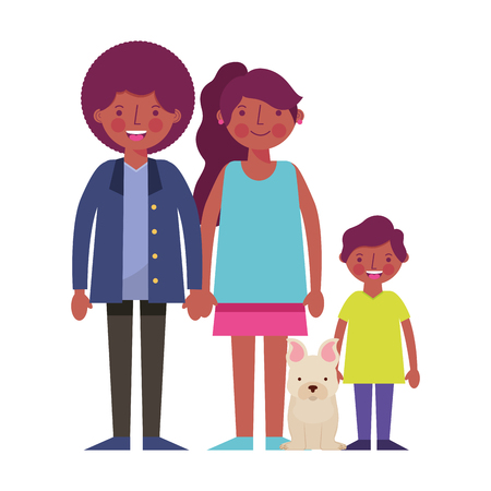 happy family black with dog mascot icon vector illustration design
