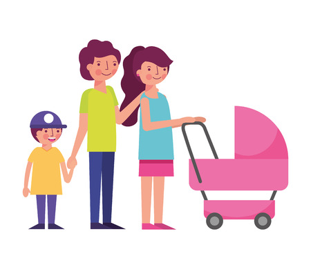 happy family with cart baby avatars characters vector illustration design