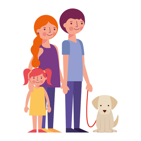 happy family with dog mascot avatars characters vector illustration design