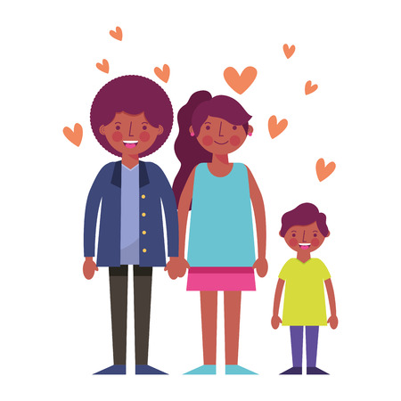 happy family black with hearts icon vector illustration design  イラスト・ベクター素材