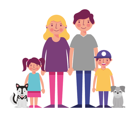 happy family with dogs mascots avatars characters vector illustration design