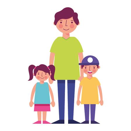 father with little kids vector illustration design Illusztráció