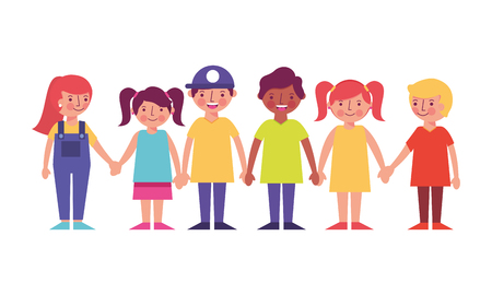 group of kids friends characters vector illustration design