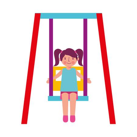 little girl in the swing vector illustration design