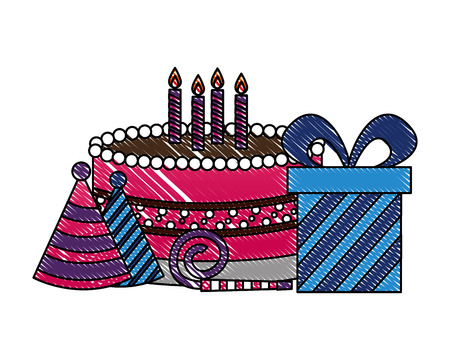 sweet cake with gift box present and accessories of party vector illustration design