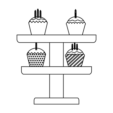 set sweet cupcakes with candles isolated icon vector illustration design 向量圖像