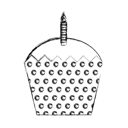 sweet cupcake with candle isolated icon vector illustration design