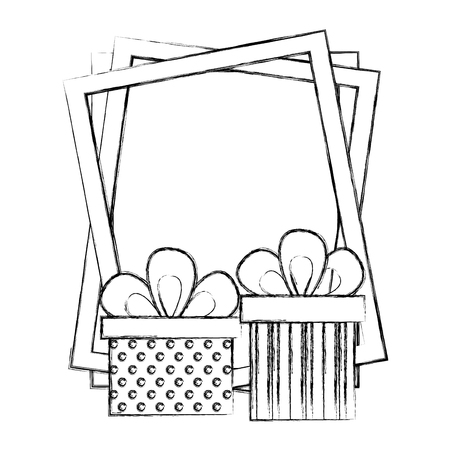 gifts boxes present with frame isolated icon vector illustration design  イラスト・ベクター素材