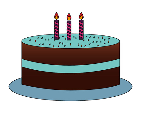 delicious chocolate birthday cake with candles vector illustration