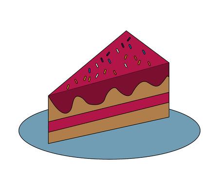 sweet piece birthday cake with sprinkles vector illustration Stock fotó - 115000296