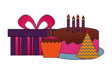 birthday cake cupcake hay party and gift vector illustration Illustration