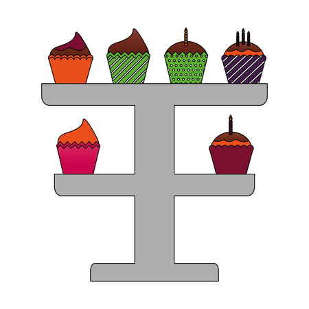 birthday cupcakes with candles in rack decoration vector illustration
