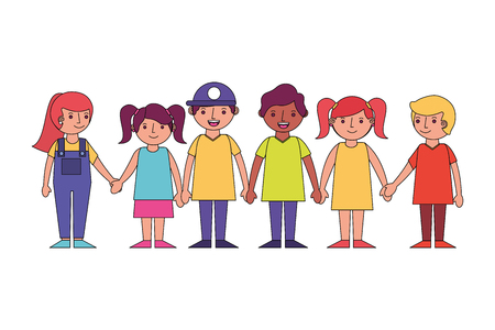 group little childrens holding hands vector illustration Stockfoto - 115000308