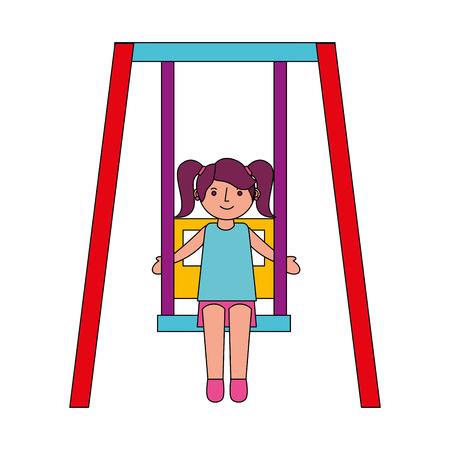 cute little girl in swing game vector illustration 일러스트