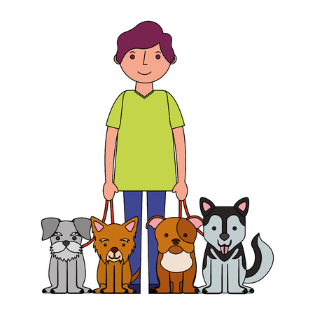 man character with four dogs mascot vector illustration