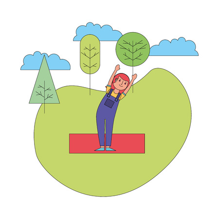 woman practicing yoga in the park vector illustration