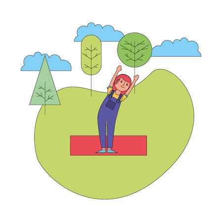 woman practicing yoga in the park vector illustration Foto de archivo - 115000312