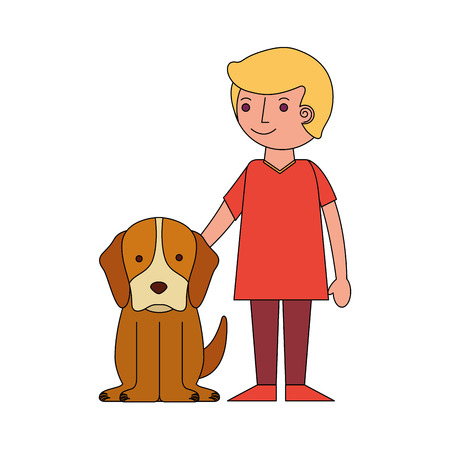 smiling little boy with her dog pet vector illustration