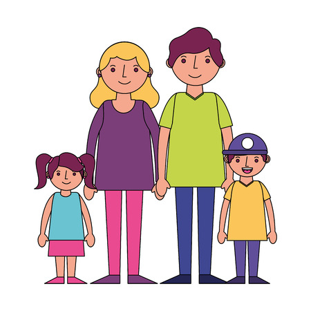 happy family parents with her son and daugther vector illustration