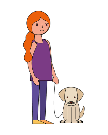 happy woman holding her dog pet vector illustration