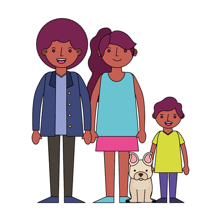 family afro american with little dog pet vector illustration