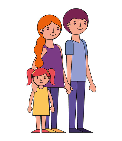 family parents with her little daughter vector illustration