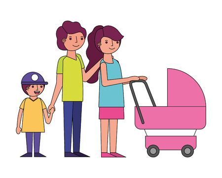 family mom dad and son with baby stroller vector illustration
