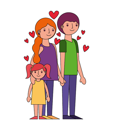 family parents and daughter hearts love vector illustration