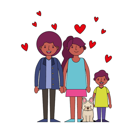 family afro american with little dog pet hearts love vector illustration