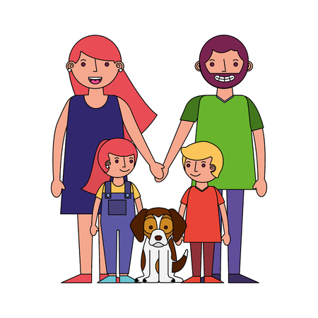 happy family mom dad son daughter and dog mascot vector illustration