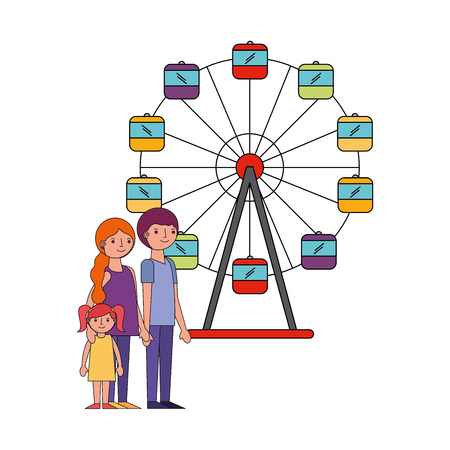 family parents and daughter in ferris wheel park vector illustration