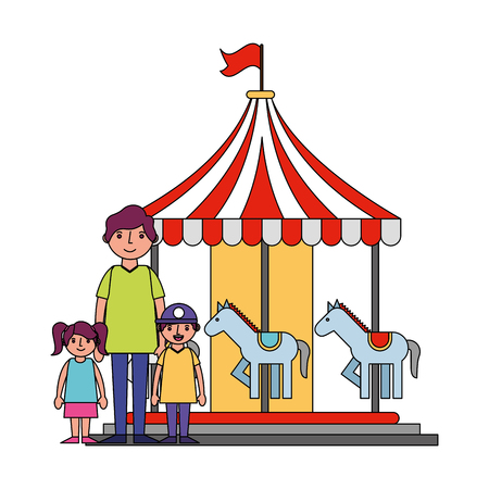 family dad with her son and daughter in carousel fair vector illustration