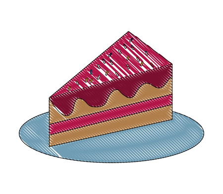 sweet piece birthday cake with sprinkles vector illustration drawing